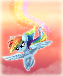 Size: 2215x2707 | Tagged: safe, artist:ravensunart, rainbow dash, pegasus, pony, cool, female, flying, mare, sky, solo, sunset