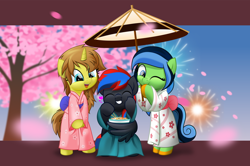 Size: 800x531 | Tagged: safe, artist:jhayarr23, oc, oc only, oc:smooth walker, oc:terra wrath, pony, unicorn, bipedal, bowl, clothes, female, kimono (clothing), mare, umbrella, wing hands, wings