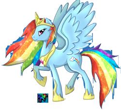 Size: 883x800   Tagged: safe, artist:themoonfall, rainbow dash, pegasus, pony, badass, crown, female, jewelry, mare, raised hoof, regalia, solo, spread wings, tiara, wings