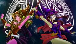 Size: 2750x1600   Tagged: safe, alternate version, artist:mauroz, color edit, edit, luster dawn, moondancer, equestria girls, anime, armpits, clothes, colored, commission, crossover, dark magician girl, female, magic, magic circle, open mouth, palette swap, recolor, scepter, yu-gi-oh!