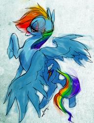 Size: 1158x1507   Tagged: safe, artist:opalacorn, rainbow dash, pegasus, pony, female, mare, raised hoof, solo, spread wings, wings