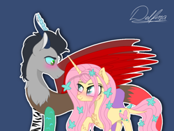 Size: 1024x768 | Tagged: safe, artist:delfinaluther, discord, fluttershy, draconequus, pony, unicorn, blushing, discord (g5), discoshy, duo, female, flower, flower in hair, fluttershy (g5), g5, male, mare, shipping, simple background, straight, unicorn fluttershy