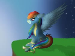 Size: 1024x768 | Tagged: safe, artist:delfinaluther, rainbow dash, pegasus, pony, cliff, clothes, female, goggles, grass, mare, smiling, solo, spread wings, uniform, wings, wonderbolts uniform