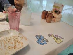 Size: 4160x3120 | Tagged: safe, artist:jrapcdaikari, oc, oc:gravity check, oc:paladin colt, pegasus, unicorn, crayon drawing, looking at each other, restaurant, traditional art