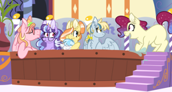 Size: 1024x549 | Tagged: safe, artist:maximumbark, oc, oc only, oc:apple tango, oc:frosty beats, oc:gala dress, oc:midnight snack, oc:spark burst, oc:sweet berry, earth pony, pegasus, pony, unicorn, female, half-siblings, hot tub, magical lesbian spawn, mare, offspring, parent:applejack, parent:fluttershy, parent:octavia melody, parent:pinkie pie, parent:rainbow dash, parent:rarity, parent:soarin', parent:sunset shimmer, parent:trixie, parent:twilight sparkle, parent:vinyl scratch, parents:flutterdash, parents:rarijack, parents:scratchtavia, parents:soarinjack, parents:suntrix, parents:twinkie