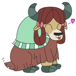 Size: 1362x1369 | Tagged: safe, artist:supahdonarudo, yona, yak, :p, bow, cloven hooves, cute, female, hair bow, heart, monkey swings, simple background, sitting, tail wag, tongue out, transparent background, yonadorable