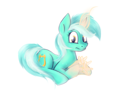 Size: 1160x872 | Tagged: safe, artist:wellory, lyra heartstrings, pony, unicorn, female, glowing horn, hand, horn, magic, magic hands, mare, prone, solo