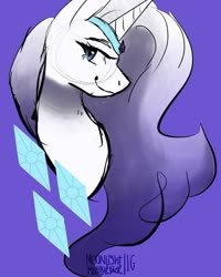 Size: 750x937 | Tagged: artist needed, source needed, safe, rarity, pony, unicorn, bust, cutie mark, female, g5, gradient mane, jewelry, mare, rarity (g5), redesign, simple background, sketch, solo, tiara