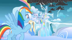 Size: 2048x1139 | Tagged: safe, screencap, rainbow dash, pegasus, pony, school raze, cloud, cloudsdale, female, flying, lightning, mare, solo, weather factory, wings