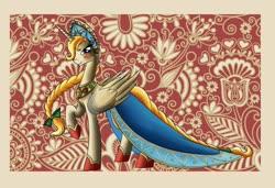 Size: 1400x958 | Tagged: safe, artist:28gooddays, oc, oc only, alicorn, alicorn oc, braid, braided tail, clothes, dress, jewelry, khokhloma, kokoshnik, russia, solo