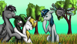 Size: 1300x740 | Tagged: safe, artist:28gooddays, oc, oc only, changeling, pegasus, pony, unicorn, biting, blushing, couple, drone, ear bite, giggling, green changeling, spritebot