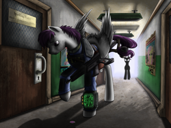 Size: 1500x1125 | Tagged: safe, artist:28gooddays, oc, oc only, ghost, undead, clothes, fallout, pipbuck