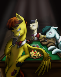 Size: 1200x1490 | Tagged: safe, artist:28gooddays, oc, oc only, oc:desable, earth pony, pegasus, pony, bowtie, casino, chips, food