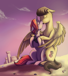 Size: 895x989 | Tagged: safe, artist:28gooddays, oc, oc only, oc:desable, couple, kissing, sand