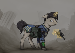 Size: 1159x830 | Tagged: safe, artist:28gooddays, oc, oc only, oc:littlepip, pony, unicorn, fallout equestria, alternate design, bag, clothes, fallout, fanfic, fanfic art, female, floppy ears, glowing horn, gun, handgun, headcanon, hooves, horn, levitation, little macintosh, looking at you, magic, mare, optical sight, pipbuck, revolver, ruins, saddle bag, scope, solo, standing, telekinesis, vault suit, weapon