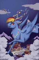 Size: 880x1364   Tagged: safe, artist:28gooddays, princess luna, rainbow dash, alicorn, deer, pony, reindeer, deerified, horns, new year, rainbow deer, reindeer dash, reindeerified, snowpony, solo, species swap
