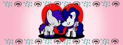 Size: 799x296 | Tagged: artist needed, safe, oc, oc:dew blue, oc:yanel love, earth pony, pegasus, pony, clothes, cutie mark, eyes closed, female, full body, heart, love, male, mare, oc x oc, scarf, shipping, smiling, stallion, tied hair