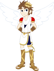 Size: 778x1028 | Tagged: safe, artist:shabrina025, human, equestria girls, angel, angelic wings, barely eqg related, clothes, crossover, crown, equestria girls style, equestria girls-ified, hands behind back, jewelry, kid icarus, kid icarus: uprising, nintendo, pit (kid icarus), regalia, sandals, shoes, super smash bros., wings
