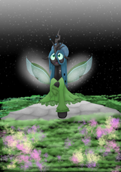 Size: 1280x1823 | Tagged: safe, artist:mr100dragon100, queen chrysalis, a better ending for chrysalis, black background, changedling wings, clothes, dress, flower, grass, light, simple background, stone