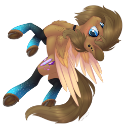 Size: 1513x1529   Tagged: safe, artist:doekitty, oc, oc only, oc:danipie, pegasus, pony, blushing, chest fluff, clothes, colored wings, female, freckles, mare, multicolored wings, simple background, socks, solo, transparent background, underhoof, wings
