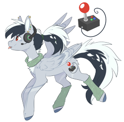 Size: 1648x1621   Tagged: safe, artist:doekitty, oc, oc:tess, pegasus, pony, female, headphones, leg warmers, mare, simple background, solo, tongue out, transparent background