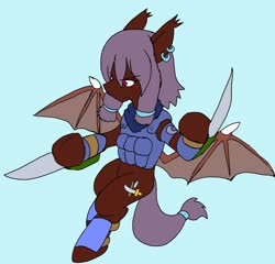 Size: 2048x1966   Tagged: safe, artist:omegapony16, oc, oc only, oc:oriponi, bat pony, pony, armor, bat pony oc, clothes, ear piercing, earring, female, hoof blades, hoof hold, jewelry, knife, mare, piercing, scarf, simple background, soldier, solo, vest