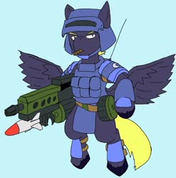 Size: 2025x2048 | Tagged: safe, artist:omegapony16, oc, oc only, pegasus, pony, armor, bipedal, cigar, clothes, frown, helmet, male, rocket launcher, simple background, solo, spread wings, stallion, unshorn fetlocks, vest, wings