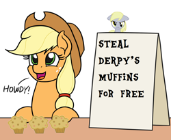 Size: 1100x900 | Tagged: safe, artist:mkogwheel edits, edit, applejack, derpy hooves, angry, applejack's sign, food, meme, muffin, solo