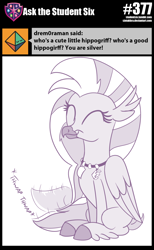 Size: 800x1300 | Tagged: safe, artist:sintakhra, silverstream, classical hippogriff, hippogriff, tumblr:studentsix, cute, diastreamies, eyes closed, solo, stair keychain, tail wag