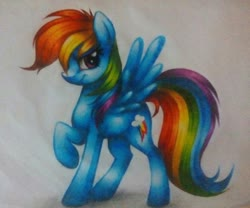 Size: 1024x851 | Tagged: safe, artist:aideemargarita, rainbow dash, pegasus, pony, colored pencil drawing, looking at you, raised leg, smiling, smirk, solo, traditional art