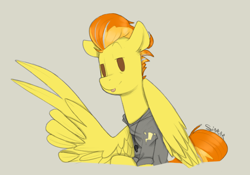 Size: 1000x700 | Tagged: safe, artist:sinrar, spitfire, pegasus, pony, female, looking at you, mare, older, older spitfire, simple background, sketch, solo, tongue out, victory sign, wing hands, wings