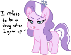 Size: 1007x774 | Tagged: artist needed, safe, edit, diamond tiara, earth pony, pony, /mlp/, blank flank, doug, female, filly, simple background, solo, speech, text, transparent background