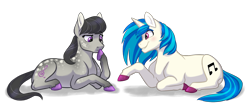 Size: 2000x832 | Tagged: safe, artist:9centschange, dj pon-3, octavia melody, vinyl scratch, earth pony, unicorn, coat markings, colored hooves, cute, female, freckles, headcanon, lesbian, mare, mute, mute vinyl, scratchtavia, shipping, sign language, simple background, story included, tavibetes, transparent background, unshorn fetlocks, vinylbetes