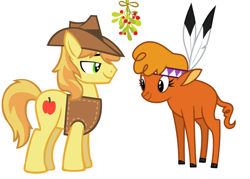 Size: 2027x1455   Tagged: safe, edit, braeburn, little strongheart, braeheart, christmas, female, holiday, male, mistleholly, shipping, simple background, straight, white background