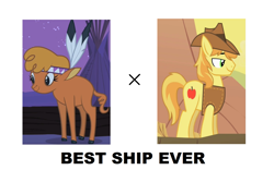 Size: 1683x1048   Tagged: safe, braeburn, little strongheart, best ship, braeheart, female, male, shipping, straight
