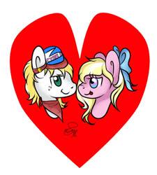 Size: 848x942 | Tagged: safe, artist:hanaty, oc, oc:bay breeze, oc:triforce treasure, earth pony, pegasus, pony, couple, heart, holiday, shipping, valentine's day