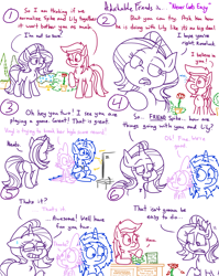 Size: 4779x6013 | Tagged: safe, artist:adorkabletwilightandfriends, dj pon-3, lily, lily valley, roseluck, spike, starlight glimmer, vinyl scratch, dragon, earth pony, pony, unicorn, comic:adorkable twilight and friends, adorkable, adorkable friends, advice, butt, comic, cute, difficult, dork, flower, love, one eye closed, plot, romance, shop, slice of life, upset, video game, wink