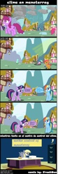 Size: 1160x3486 | Tagged: safe, artist:freak0uo, babs seed, berry punch, berryshine, derpy hooves, lyra heartstrings, pinkie pie, rainbow dash, twilight sparkle, comic, mexico, monterrey, reference, spanish, weather, weather control