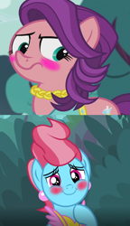 Size: 672x1166 | Tagged: safe, edit, edited screencap, screencap, cup cake, spoiled rich, earth pony, pony, crusaders of the lost mark, the big mac question, spoiler:s09e23, blushing, female, infidelity, lesbian, mare, shipping, shipping domino, spoiledcake