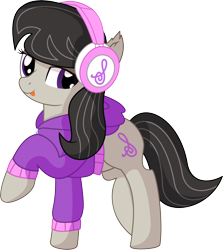 Size: 6161x6910 | Tagged: safe, artist:cyanlightning, octavia melody, earth pony, pony, .svg available, absurd resolution, backwards cutie mark, clothes, ear fluff, female, headphones, hoodie, looking at you, mare, simple background, solo, transparent background, vector