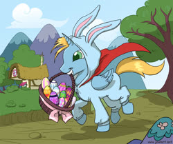 Size: 900x754 | Tagged: safe, artist:joieart, oc, oc:harmony star, oc:prince harmony, alicorn, alicorn oc, animal costume, basket, bunny costume, clothes, costume, easter bunny, easter egg, kigurumi, mouth hold