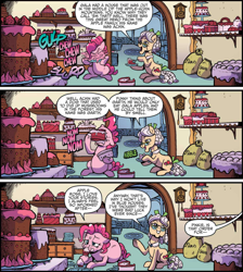 Size: 2462x2742 | Tagged: safe, artist:pencils, idw, apple rose, pinkie pie, earth pony, pony, spoiler:comic, spoiler:comic70, cake, comic, cropped, duo, eating, fat, female, food, mare, messy eating, nom, offscreen character, pudgy pie, speech bubble, stuffing, sugarcube corner, this ended in weight gain, weight gain