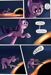 Size: 1920x2816 | Tagged: safe, artist:shieltar, twilight sparkle, pony, unicorn, comic:giant twilight, accretion disk, black hole, comic, cute, dialogue, female, giant pony, giantess, horn, macro, mare, part of a series, part of a set, pony bigger than a planet, pony bigger than a solar system, pony bigger than a star, signature, size difference, solo, space, stars, this will end in spaghettification, too dumb to live, twiabetes, unicorn twilight