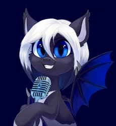 Size: 2372x2576 | Tagged: safe, artist:taneysha, oc, bat pony, fangs, female, looking at you, mare, microphone, simple background, smiling, spread wings, wings