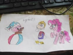 Size: 4608x3456 | Tagged: safe, artist:ezio1-3, pinkie pie, crossover, kirby, marx, rayman, traditional art