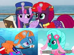 Size: 1440x1080 | Tagged: safe, artist:徐詩珮, fizzlepop berrytwist, glitter drops, spring rain, tempest shadow, twilight sparkle, alicorn, unicorn, series:sprglitemplight diary, series:sprglitemplight life jacket days, series:springshadowdrops diary, series:springshadowdrops life jacket days, alternate universe, bisexual, broken horn, clothes, cute, equestria girls outfit, female, flying, glitterbetes, glitterlight, glittershadow, horn, lesbian, lifeguard, lifeguard spring rain, magic, paw patrol, polyamory, shipping, snorkeling, sprglitemplight, springbetes, springdrops, springlight, springshadow, springshadowdrops, studying, swimsuit, tempestbetes, tempestlight, twilight sparkle (alicorn)