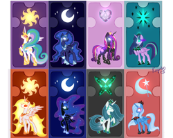 Size: 2068x1644 | Tagged: safe, artist:kayotanv87, daybreaker, nightmare moon, princess cadance, princess celestia, princess luna, queen chrysalis, trixie, twilight sparkle, alicorn, changedling, changeling, pony, alicorn amulet, alicornified, alternate hairstyle, armor, card, changedlingified, changelingified, corrupted twilight sparkle, cutie mark, dark magic, ethereal mane, evil cadance, evil celestia, evil luna, female, helmet, jewelry, magic, mare, ponified, purified chrysalis, race swap, reformed, regalia, role reversal, royal sisters, sombra eyes, species swap, starry mane, trixiecorn, twilight sparkle (alicorn), twivine sparkle, warrior, warrior celestia, warrior luna