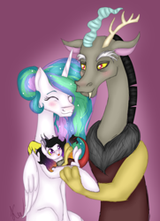 Size: 2082x2879 | Tagged: safe, artist:kayotanv87, discord, princess celestia, oc, alicorn, draconequus, hybrid, pony, alternate hairstyle, blushing, child, daddy discord, dislestia, ethereal mane, eyes closed, family, father and child, father and daughter, female, interspecies offspring, like father like daughter, like mother like daughter, male, mare, missing accessory, momlestia, mother and child, mother and daughter, offspring, parent:discord, parent:princess celestia, parents:dislestia, purple background, shipping, simple background, smiling, starry mane, straight