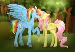 Size: 2942x2039 | Tagged: safe, artist:kayotanv87, fluttershy, rainbow dash, pegasus, pony, alternate hairstyle, crepuscular rays, cutie mark, eyes closed, feathered fetlocks, female, floppy ears, flutterdash, forest, lesbian, lidded eyes, mare, ponytail, raised hoof, shipping, size difference, smiling, spread wings, wings