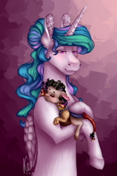 Size: 1748x2635 | Tagged: safe, artist:kayotanv87, princess celestia, oc, alicorn, hybrid, pony, semi-anthro, abstract background, alternate hairstyle, bipedal, duo, ear fluff, eyebrows visible through hair, female, floppy ears, holding a pony, interspecies offspring, lidded eyes, mare, missing accessory, momlestia, offspring, parent:discord, parent:princess celestia, parents:dislestia, sleeping, smiling